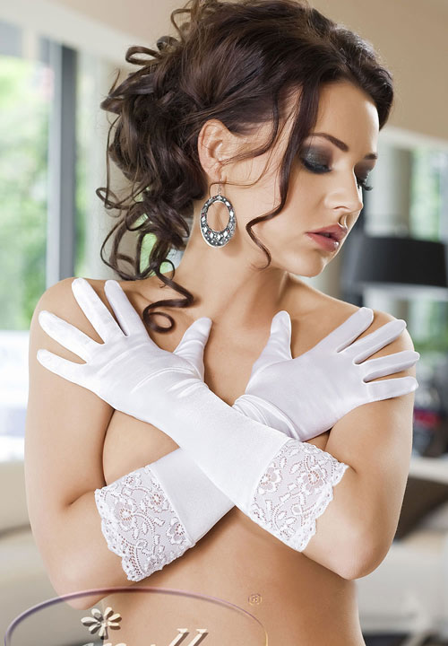 Lace Trim Satin Gloves